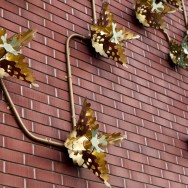 close up of origami sconces